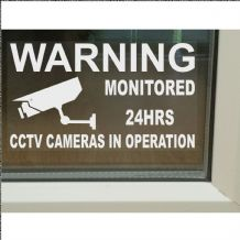 1 x Warning monitored 24Hour CCTV Cameras in Operation,Home,Premises,Security,Window Sticker Sign